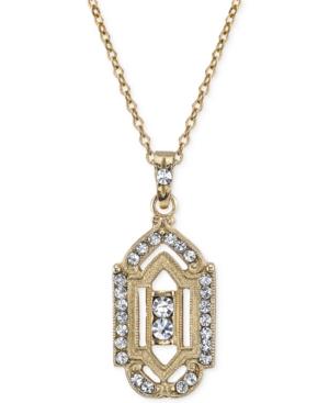 Downton Abbey Gold-Tone Cutout Crystal Pendant Necklace