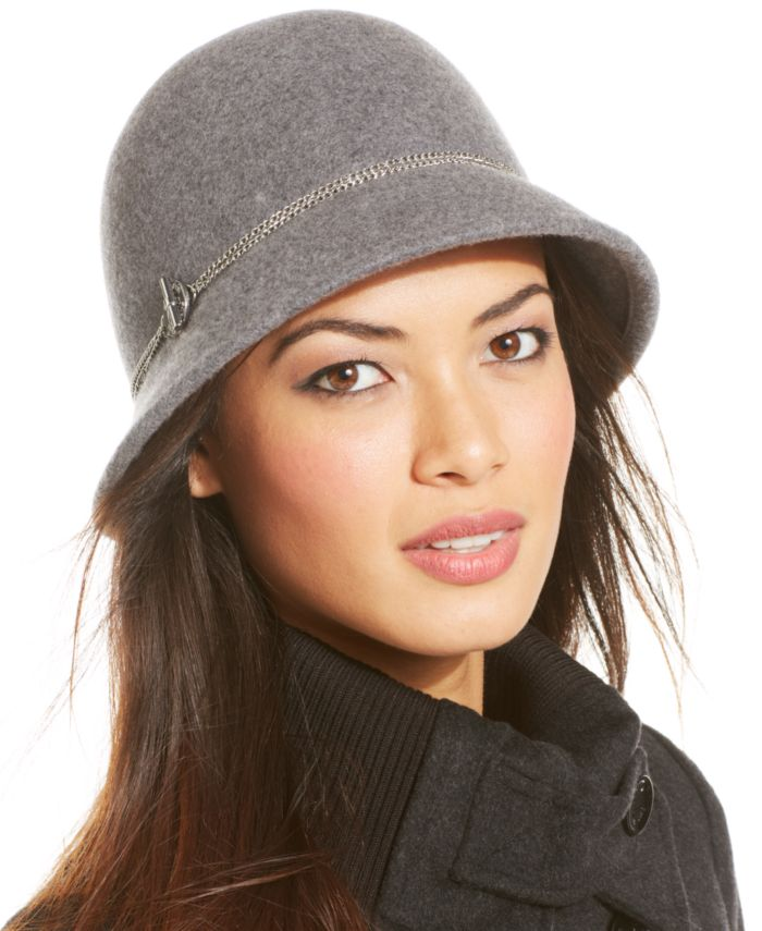 Calvin Klein Wool Felt Cloche with Toggle Chain