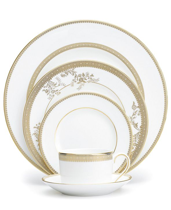 Vera Wang Wedgwood Dinnerware, Lace Gold 5 Piece Place Setting