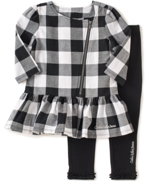 Calvin Klein - Little Girls' 2-Piece Gingham Tunic & Leggings Set