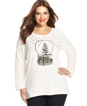 Style & co. Plus Size Holiday Foil-Print Sweater
