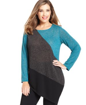 Agb Plus Size Colorblocked Asymmetrical-Hem Sweater