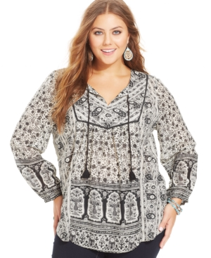 Lucky Brand Plus Size Floral-Print Peasant Top