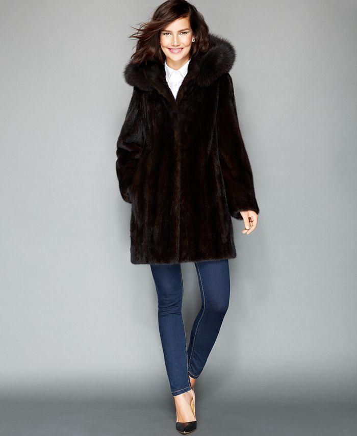 The Fur Vault - Fox-Trimmed Hooded Mink Coat