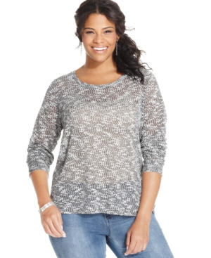 Extra Touch Plus Size Crochet-Back Top