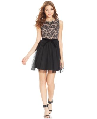 American Rag LacePrint Tulle Dress