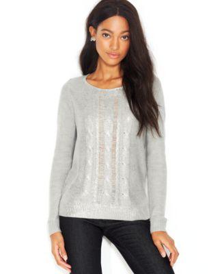 Maison Jules LongSleeve MetallicFlecked Foiled Sweater