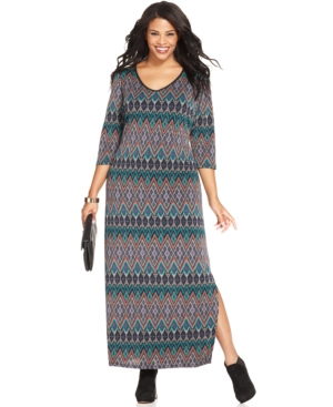 Ny Collection Plus Size Aztec-Print Sweater Maxi Dress