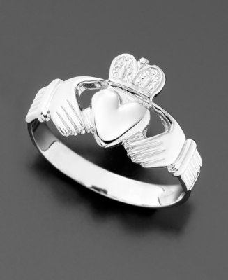 Men's 14k White Gold Claddagh Ring
