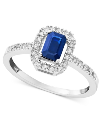 14k White Gold Sapphire (5/8 ct. t.w.) & Diamond (1/8 ct. t.w.) Ring - Gemstone Ring