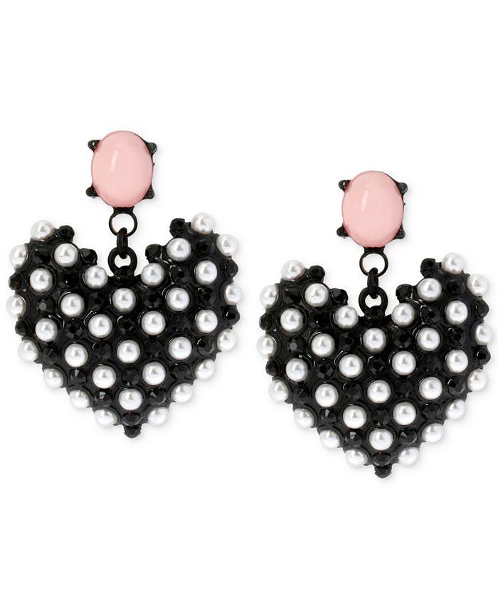 Betsey Johnson - Black-Tone Faux Pearl Heart Earrings