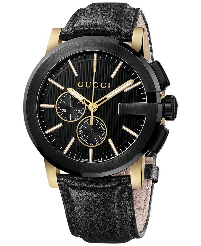 Gucci - Unisex Swiss G-Chrono XL Black Leather Strap Watch 44mm YA101203
