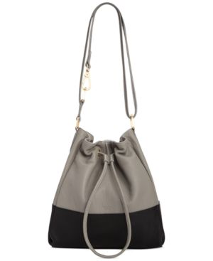 Perlina Valentina Leather Colorblock Drawstring