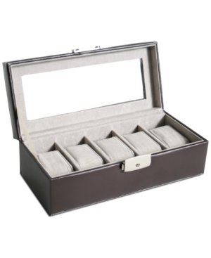 Royce Leather Luxury 5 Slot Watch Box Display Case