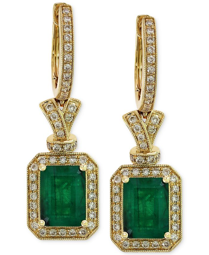 EFFY Collection - Emerald (2-7/8 ct. t.w.) and Diamond (1/2 ct. t.w.) Earrings in 14k Gold