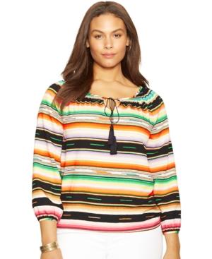 Lauren Ralph Lauren Plus Size Striped Peasant Top