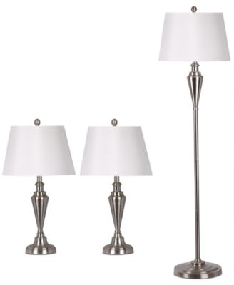 Adesso Satin Steel Set of Two Table Lamps and 1 Floor Lamp
