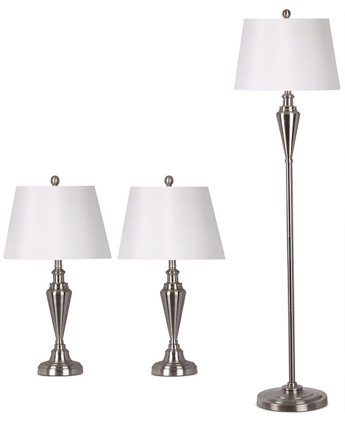 Adesso - Satin Steel Set of Two Table Lamps and 1 Floor Lamp