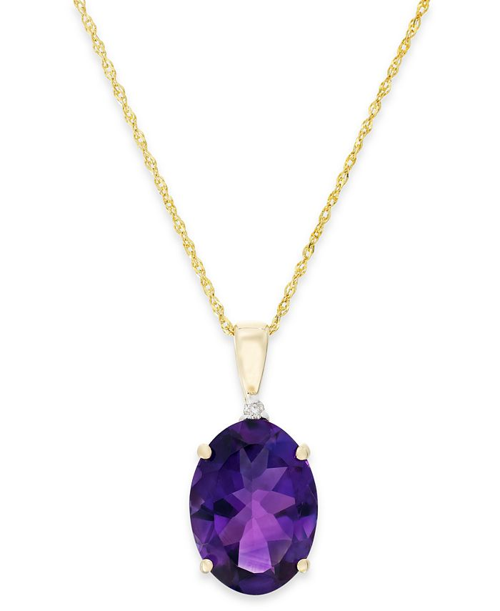 Macy's - Amethyst (5 ct. t.w.) and Diamond Accent Pendant Necklace in 14k Gold