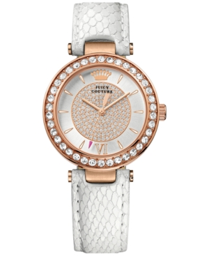 Juicy Couture Women's Luxe Couture White Embossed Leather Strap Watch 34mm 1901194