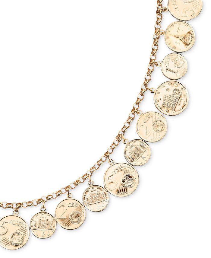 Italian Gold - Euro Coin Charm Bracelet in 14k Gold Vermeil