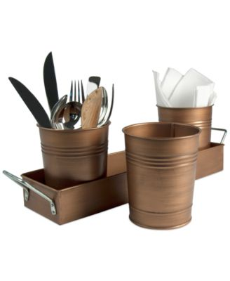 Artland Oasis Antique Copper Finish 4-Piece Picnic Caddy Set