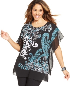 Jm Collection Plus Size Batwing-Sleeve Printed Top