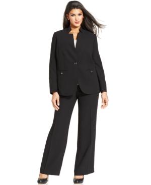 Tahari ASL Plus Size Crepe Pantsuit
