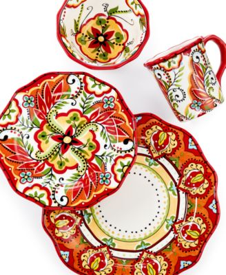 Espana Bocca Red Scalloped 4-Piece Place Setting