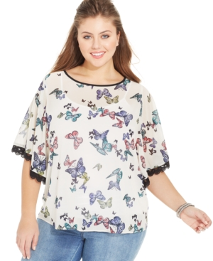 Eyeshadow Plus Size Butterfly-Sleeve Printed Blouse