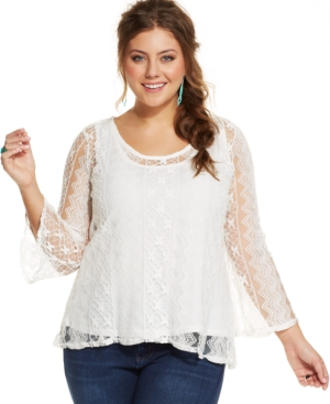 American Rag Plus Size Lace-Overlay Top