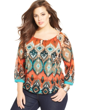 INC International Concepts Plus Size Printed Keyhole Top