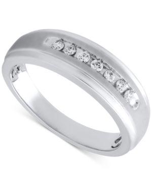Beautiful Beginnings Men's Diamond Wedding Band in Sterling Silver (1/5 ct. t.w.) thumbnail