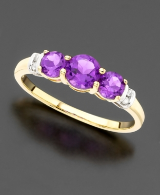 14k Gold Three-Stone Amethyst (3/4 ct. tw.) & Diamond Accent Ring