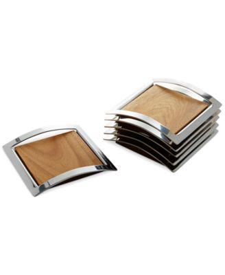 Nambe Classic Wood and Metal Mikko Set of 6 Coasters