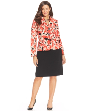 Le Suit Plus Size Floral-Print Skirt Suit