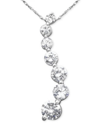14k White Gold Cubic Zirconia Journey Swiggle Pendant (2 ct. t.w.)