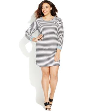 Junarose Plus Size Striped Shift Dress