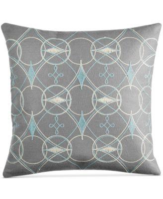 "Bar III Pixel Embroidered Felt 16"" Square Decorative Pillow"