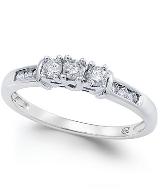 three promise ring in 10k white gold 1 4 ct