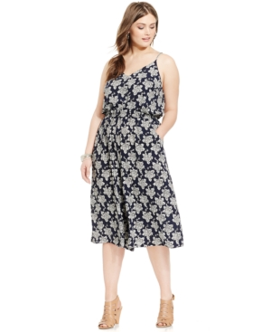 Soprano Plus Size Printed Cropped Gaucho Jumpsuit