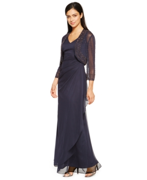 Patra Petite Draped A-Line Gown and Jacket $229.00 AT vintagedancer.com