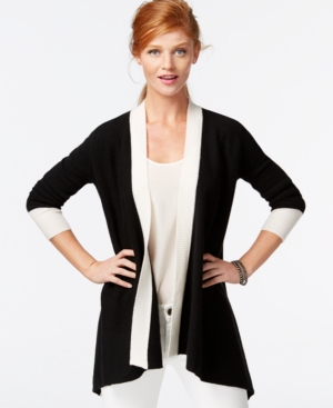 Charter Club Cashmere Colorblocked Duster Cardigan $82.54 AT vintagedancer.com
