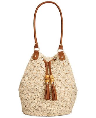 Crochet Tassel Bag : Straw Studios Crochet Tassel Bucket Bag