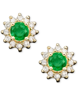 14k Gold Emerald (1/2 ct. t.w.) & Diamond Accent Earrings