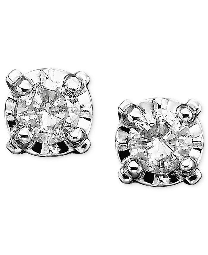 Macy's - Diamond Stud Earrings in 14k White Gold (1/8 ct. t.w.)
