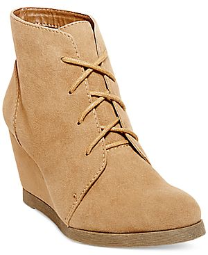 Madden Girl Domain Lace-Up Wedge Booties