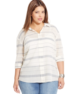 Lucky Brand Plus Size Long-Sleeve Striped Shirt