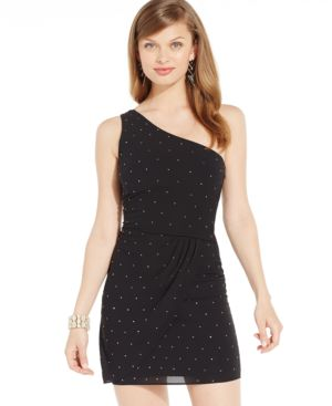 Sequin Hearts Juniors' Studded One-Shoulder Party Dress