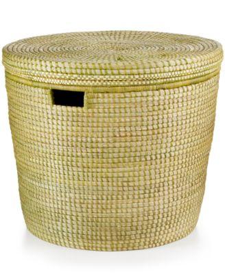 Rwanda Savannah Raffia and Sweet Grass Bath Bin with Cover